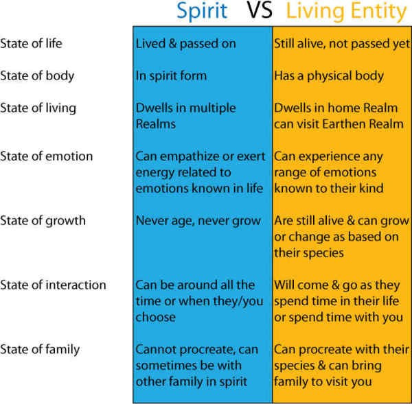 Spirits vs Living Entities